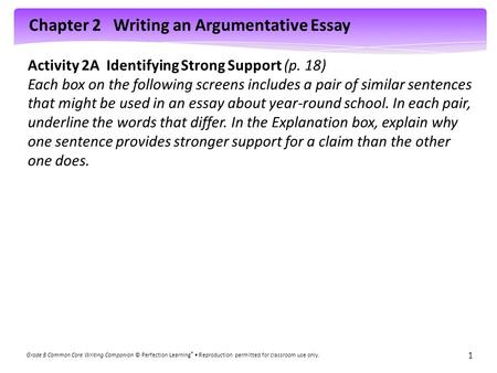 Activity 2A  Identifying Strong Support (p. 18)