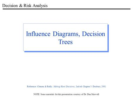 Decision & Risk Analysis Influence Diagrams, Decision Trees NOTE: Some materials for this presentation courtesy of Dr. Dan Maxwell Reference: Clemen &