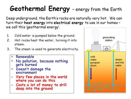 Geothermal Energy – energy from the Earth 1.Cold water is pumped below the ground. 2.Hot rocks heat the water, turning it into steam. 3.The steam is used.