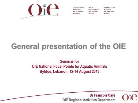 1 General presentation of the OIE Seminar for OIE National Focal Points for Aquatic Animals Byblos, Lebanon, 12-14 August 2013 Dr François Caya OIE Regional.