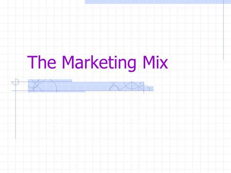 "The Marketing Mix. Marketing Mix Most famous phrase in marketing Sometimes known as the ""________"" The marketing mix consists of p____, p______, p______."