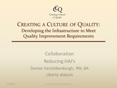C REATING A C ULTURE OF Q UALITY : Developing the Infrastructure to Meet Quality Improvement Requirements Collaboration Reducing HAI's Denise VanValkenburgh,