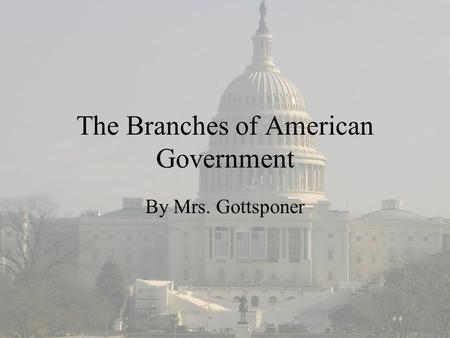 The Branches of American Government By Mrs. Gottsponer.