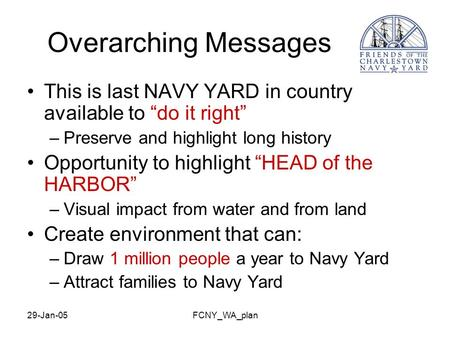"29-Jan-05FCNY_WA_plan Overarching Messages This is last NAVY YARD in country available to ""do it right"" –Preserve and highlight long history Opportunity."