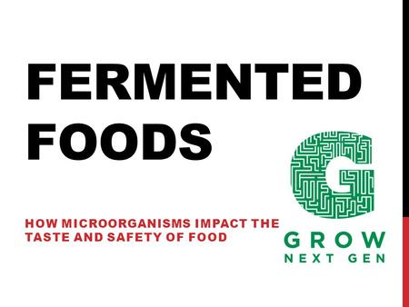 FERMENTED FOODS HOW MICROORGANISMS IMPACT THE TASTE AND SAFETY OF FOOD.