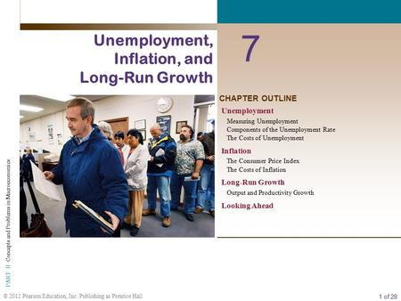 1 of 28 © 2012 Pearson Education, Inc. Publishing as Prentice Hall PART II Concepts and Problems in Macroeconomics CHAPTER OUTLINE 7 Unemployment, Inflation,