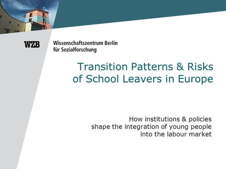 Transition Patterns & Risks of School Leavers in Europe How institutions & policies shape the integration of young people into the labour market.