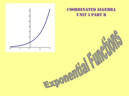 Coordinated Algebra Unit 3 Part B. What is an Exponential Function?