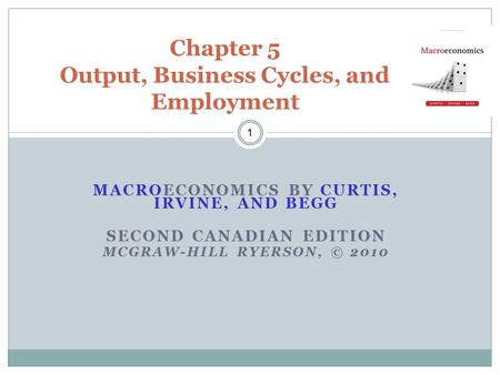 MACROECONOMICS BY CURTIS, IRVINE, AND BEGG SECOND CANADIAN EDITION MCGRAW-HILL RYERSON, © 2010 1 Chapter 5 Output, Business Cycles, and Employment.