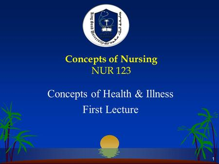 1 Concepts of Nursing NUR 123 Concepts of Health & Illness First Lecture.