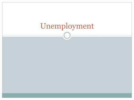 Unemployment. Define Unemployment The number of people who are actively looking for work but are not currently employed.