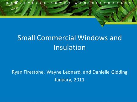 B O N N E V I L L E P O W E R A D M I N I S T R A T I O N Small Commercial Windows and Insulation Ryan Firestone, Wayne Leonard, and Danielle Gidding January,