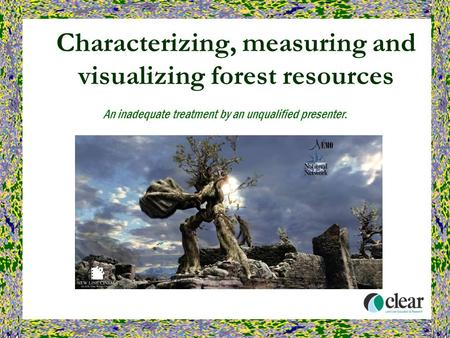 Characterizing, measuring and visualizing forest resources An inadequate treatment by an unqualified presenter.
