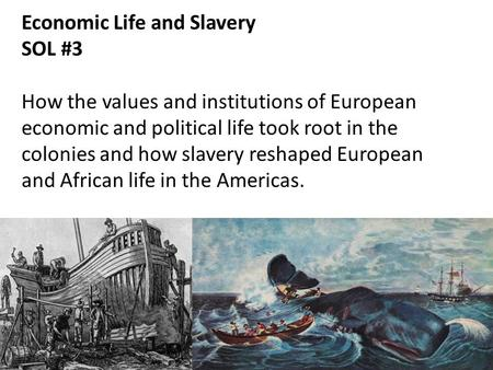Economic Life and Slavery SOL #3 How the values and institutions of European economic and political life took root in the colonies and how slavery reshaped.