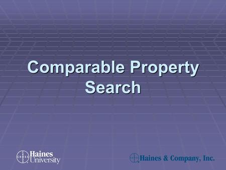 Comparable Property Search. A comp search enables you to search for and find properties similar to a selected property of your choice. This is accomplished.