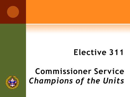 Elective 311 Commissioner Service Champions of the Units.