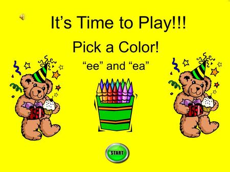 "Pick a Color! ""ee"" and ""ea"" It's Time to Play!!!"