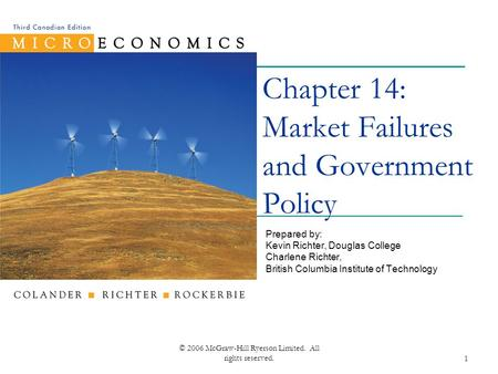 © 2006 McGraw-Hill Ryerson Limited. All rights reserved.1 Chapter 14: Market Failures and Government Policy Prepared by: Kevin Richter, Douglas College.