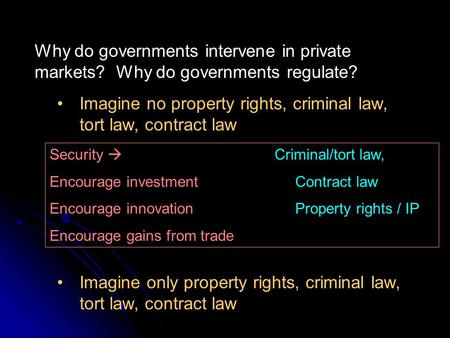 Why do governments intervene in private markets? Why do governments regulate? Imagine no property rights, criminal law, tort law, contract law Imagine.