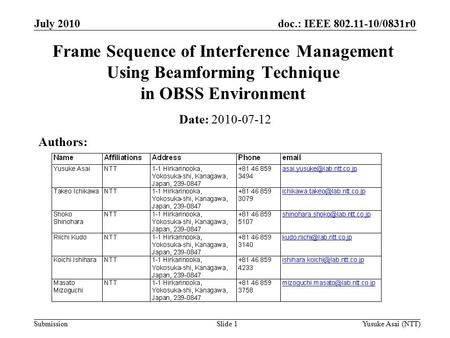 Doc.: IEEE 802.11-10/0831r0 Submission July 2010 Yusuke Asai (NTT)Slide 1 Frame Sequence of Interference Management Using Beamforming Technique in OBSS.