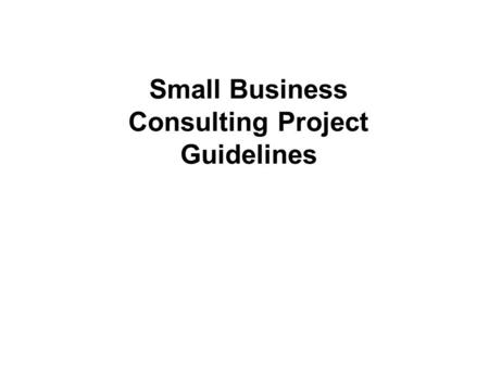 Small Business Consulting Project Guidelines. 2 Milestones Conduct Phase I (Initial Client Interview) by Monday April 6th Complete Phase I (Description)