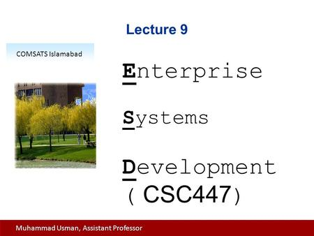 Lecture 9 Enterprise Systems Development ( CSC447 ) COMSATS Islamabad Muhammad Usman, Assistant Professor.