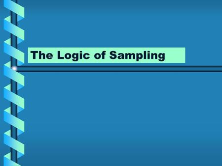 The Logic of Sampling. Methods of Sampling Nonprobability samplesNonprobability samples –Used often in Qualitative Research Probability or random samplesProbability.