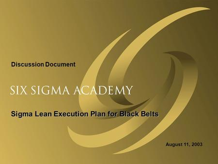 Sigma Lean Execution Plan for Black Belts