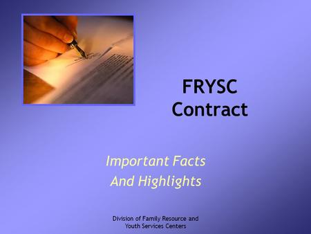 Division of Family Resource and Youth Services Centers FRYSC Contract Important Facts And Highlights.