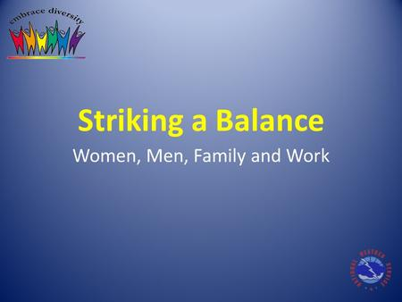 Striking a Balance Women, Men, Family and Work. Over the past decade… Technology has blurred the lines between work and life – Access to e-mail, texting,