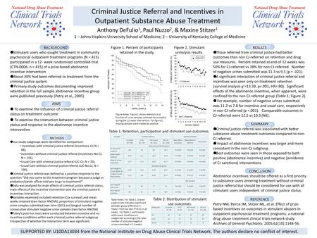 Criminal Justice Referral and Incentives in Outpatient Substance Abuse Treatment Anthony DeFulio 1, Paul Nuzzo 2, & Maxine Stitzer 1 1 – Johns Hopkins.