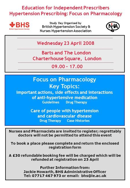 Education for Independent Prescribers Hypertension Prescribing: Focus on Pharmacology Wednesday 23 April 2008 Barts and The London Charterhouse Square,