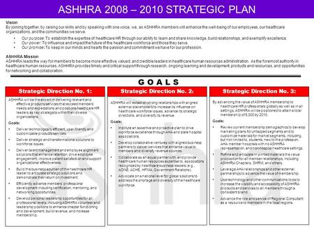 ASHHRA 2008 – 2010 STRATEGIC PLAN Vision By joining together, by raising our skills and by speaking with one voice, we, as ASHHRA members will enhance.