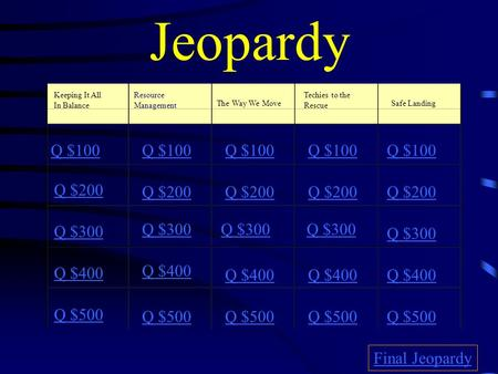 Jeopardy Keeping It All In Balance Resource Management The Way We Move Techies to the Rescue Safe Landing Q $100 Q $200 Q $300 Q $400 Q $500 Q $100 Q.