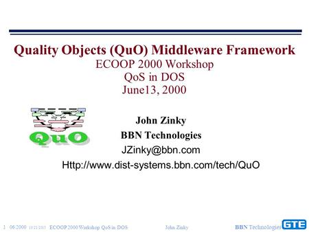 1 06/2000 10/21/2015 ECOOP 2000 Workshop QoS in DOSJohn Zinky BBN Technologies Quality Objects (QuO) Middleware Framework ECOOP 2000 Workshop QoS in DOS.