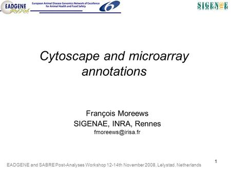 EADGENE and SABRE Post-Analyses Workshop 12-14th November 2008, Lelystad, Netherlands 1 François Moreews SIGENAE, INRA, Rennes Cytoscape.