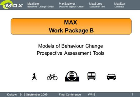 MaxSem MaxExplorer MaxSumo MaxEva Behaviour Change Model Decision Support Guide Evaluation Tool Database MAX Work Package B Models of Behaviour Change.