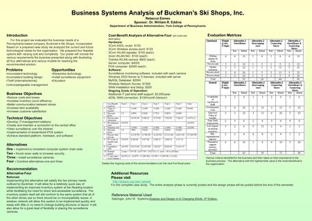 Business Systems Analysis of Buckman's Ski Shops, Inc. Rebecca Eames Sponsor: Dr. William R. Eddins Department of Business Administration, York College.