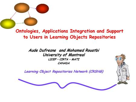 Aude Dufresne and Mohamed Rouatbi University of Montreal LICEF – CIRTA – MATI CANADA Learning Object Repositories Network (CRSNG) Ontologies, Applications.