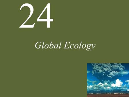 24 Global Ecology. Global Biogeochemical Cycles Atmospheric CO 2 affects pH of the oceans by diffusing in and forming carbonic acid.