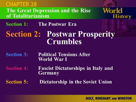 CHAPTER 28 Section 1:The Postwar Era Section 2:Postwar Prosperity Crumbles Section 3:Political Tensions After World War I Section 4: Fascist Dictatorships.