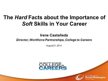 The Hard Facts about the Importance of Soft Skills in Your Career Irene Castañeda Director, Workforce Partnerships, College to Careers August 21, 2014.