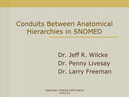 Veterinary Medical Informatics VMRCVM Conduits Between Anatomical Hierarchies in SNOMED Dr. Jeff R. Wilcke Dr. Penny Livesay Dr. Larry Freeman.