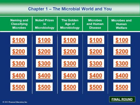 © 2013 Pearson Education, Inc. Chapter 1 – The Microbial World and You $100 $200 $300 $400 $500 $100$100$100 $200 $300 $400 $500 Naming and Classifying.