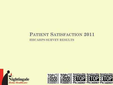 P ATIENT S ATISFACTION 2011 HHCAHPS SURVEY RESULTS.