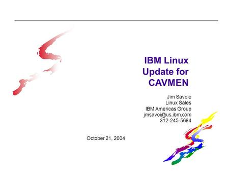 IBM Linux Update for CAVMEN Jim Savoie Linux Sales IBM Americas Group 312-245-5684 October 21, 2004.