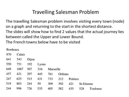 The travelling Salesman problem involves visiting every town (node) on a graph and returning to the start in the shortest distance. The slides will show.