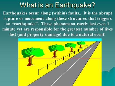 "What is an Earthquake? Earthquakes occur along (within) faults.. It is the abrupt rupture or movement along these structures that triggers an ""earthquake""."