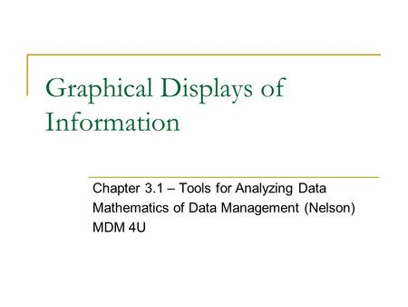 Graphical Displays of Information Chapter 3.1 – Tools for Analyzing Data Mathematics of Data Management (Nelson) MDM 4U.