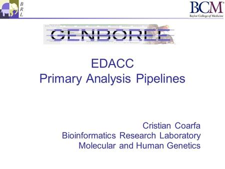 EDACC Primary Analysis Pipelines Cristian Coarfa Bioinformatics Research Laboratory Molecular and Human Genetics.